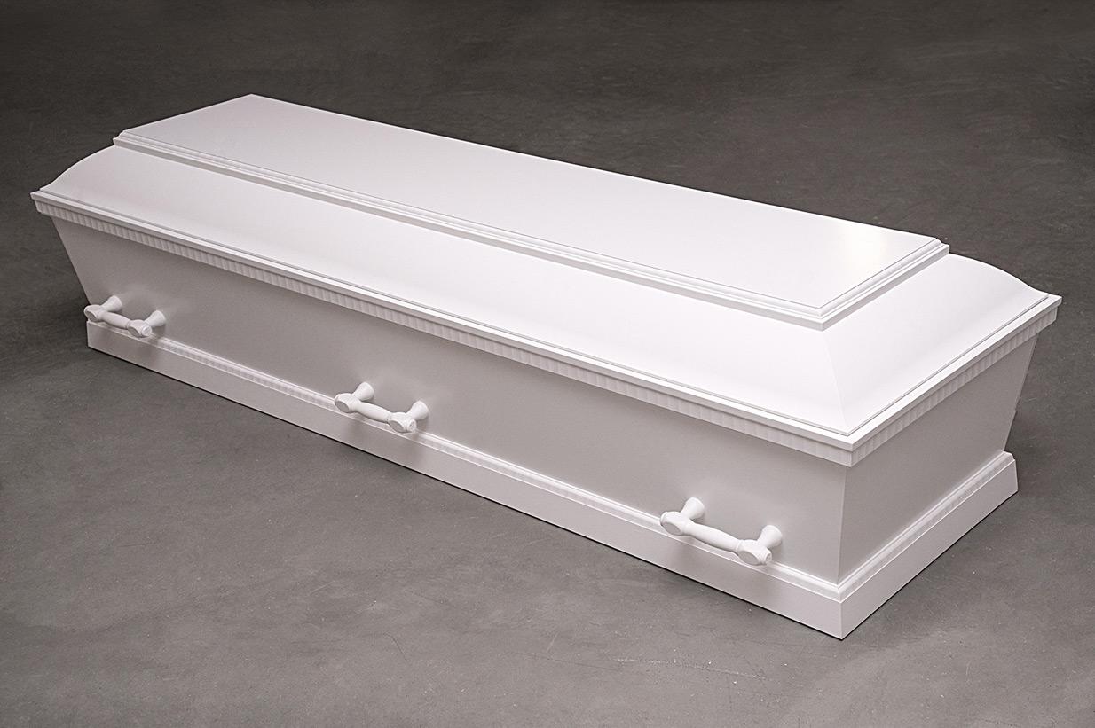 Enkel hvid kiste med riflede kanter (model 16)