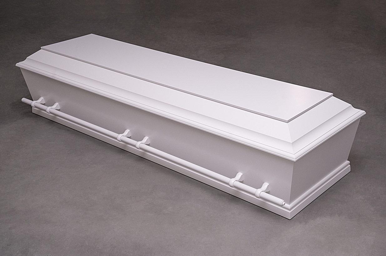Enkel hvid kiste med bærestænger (model B med bærestænger)