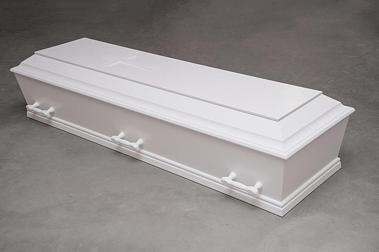 Enkel hvid kiste med kors (model B med kors)