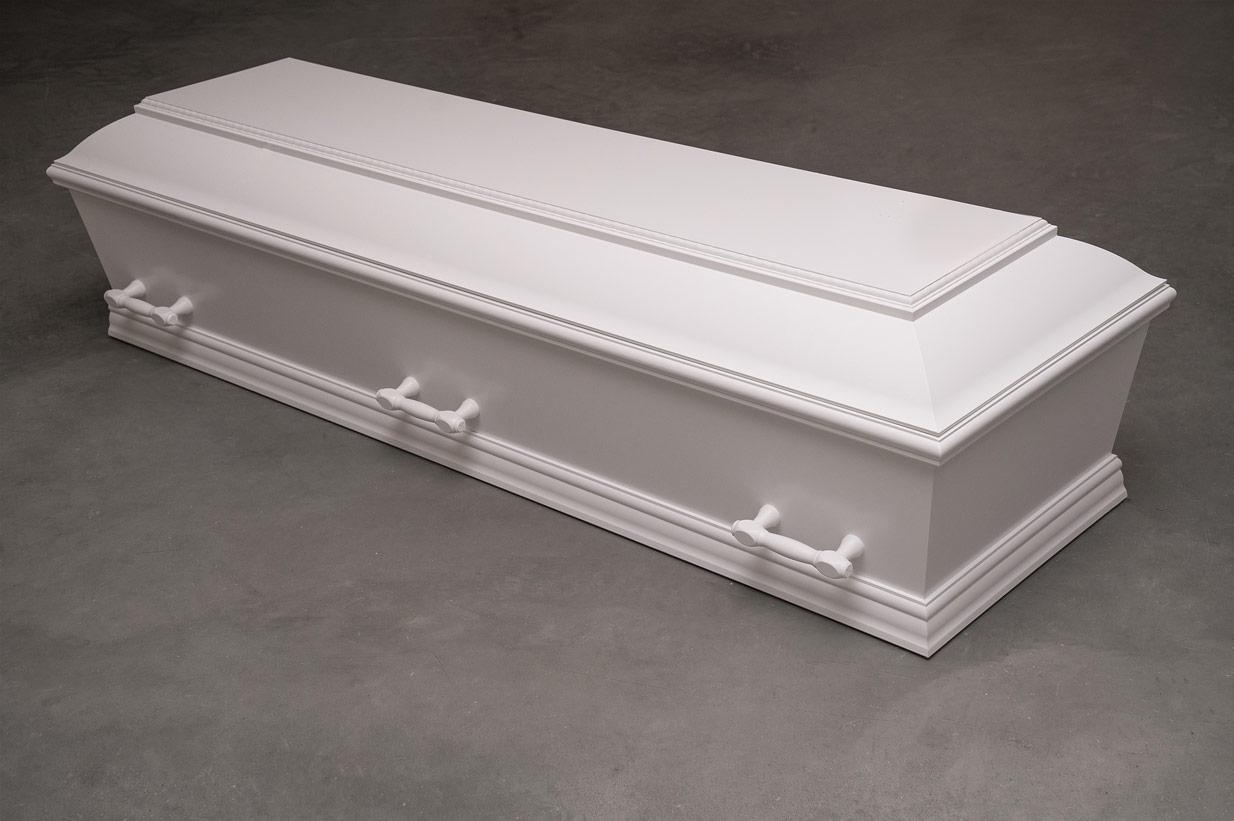 Enkel hvid kiste med perlekant (model 14)