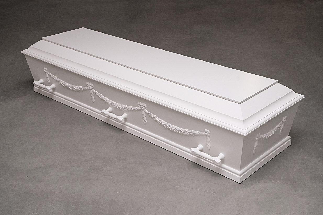 Enkel hvid kiste med giurlander(model B med giurlander)